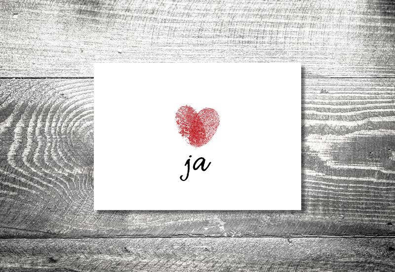 einladung hochzeit fingerabdruck 1 - Hochzeitskarten Set