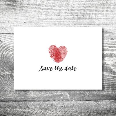 save the date hochzeit fingerabdruck 1 400x400 - Save the Date Fingerabdruck Postkarte   2-Seitig   ab 0,70 €