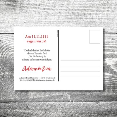 hochzeit pk 148x105  400x400 - Save the Date Fingerabdruck Postkarte   2-Seitig   ab 0,70 €