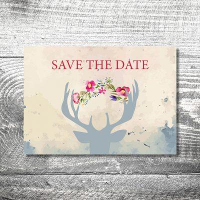 kartlerei 148x105 hochzeit einladungskarte12 400x400 - Save the Date Hirsch | 2-Seitig | ab 0,70 €