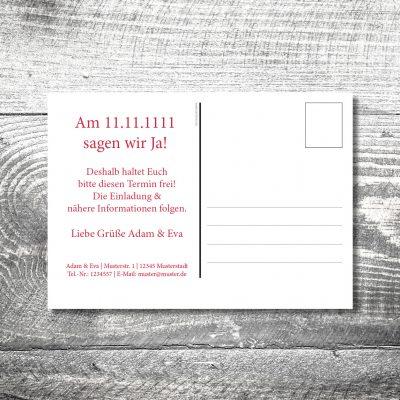 kartlerei 148x105 hochzeit einladungskarte13 400x400 - Save the Date Hirsch Postkarte | 2-Seitig | ab 0,70 €
