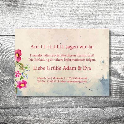 kartlerei 148x105 hochzeit einladungskarte14 400x400 - Save the Date Hirsch | 2-Seitig | ab 0,70 €