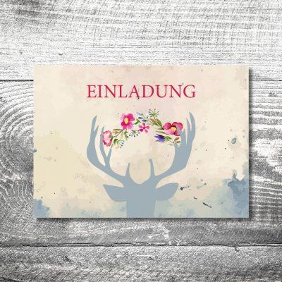 kartlerei 148x105 hochzeit einladungskarte16 400x400 - Hochzeit Hirsch | 4-Seitig | ab 1,00 €