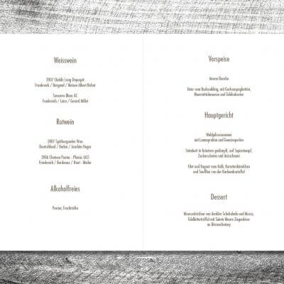 kartlerei karten drucken hochzeit heiraten menue menuekarte2 400x400 - Menükarte Rosenholz