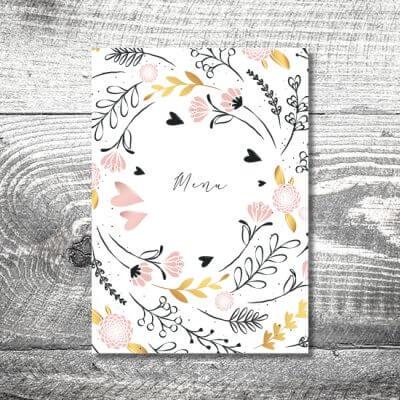 kartlerei einladungskarten hochzeitskarten menuekarten drucken karten gestalten hochzeit 400x400 - Menükarte Golden Flora