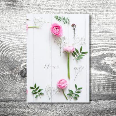 kartlerei einladungskarten hochzeitskarten menuekarten drucken karten gestalten hochzeit13 400x400 - Menükarte Romantik