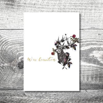 kartlerei einladungskarten hochzeitskarten menuekarten drucken karten gestalten hochzeit16 400x400 - Menükarte Hirschblümchen