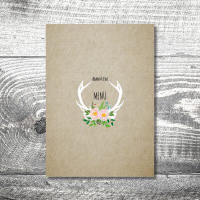 kartlerei einladungskarten hochzeitskarten menuekarten drucken karten gestalten hochzeit31 400x400 - Menükarte Flowerhirsch