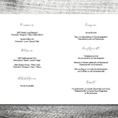 kartlerei einladungskarten hochzeitskarten menuekarten drucken karten gestalten hochzeit5 400x400 - Menükarte Goldener Hirsch