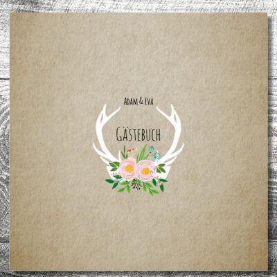 kartlerei gaestebuch hochzeit karten gestalten drucken12 400x400 - Gästebuch Flowerhirsch | ab 55,00 €