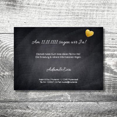 kartlerei hochzeit einladungskarten karten gestalten karten drucken hochzeitskarte 100 400x400 - Save the Date Herzgold | 2-Seitig | ab 0,70 €
