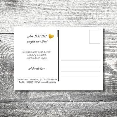 kartlerei hochzeit einladungskarten karten gestalten karten drucken hochzeitskarte 101 400x400 - Save the Date Herzgold Postkarte | 2-Seitig | ab 0,70 €