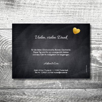 kartlerei hochzeit einladungskarten karten gestalten karten drucken hochzeitskarte 108 400x400 - Danke Herzgold | 2-Seitig | ab 0,70 €