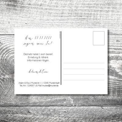 kartlerei hochzeit einladungskarten karten gestalten karten drucken hochzeitskarte 112 400x400 - Save the Date Vintageblumen Postkarte | 2-Seitig | ab 0,70 €