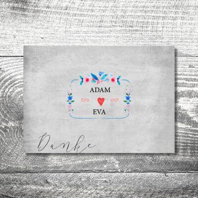 kartlerei hochzeit einladungskarten karten gestalten karten drucken hochzeitskarte 118 400x400 - Danke Vintageblumen | 4-Seitig | ab 1,00 €
