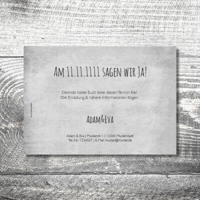kartlerei hochzeit einladungskarten karten gestalten karten drucken hochzeitskarte 122 400x400 - Save the Date Vintagekreis | 2-Seitig | ab 0,70 €