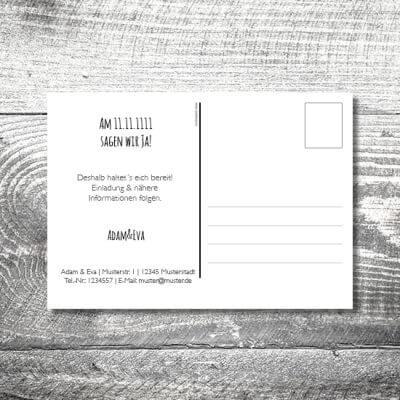 kartlerei hochzeit einladungskarten karten gestalten karten drucken hochzeitskarte 123 400x400 - Save the Date Vintagekreis Postkarte | 2-Seitig | ab 0,70 €