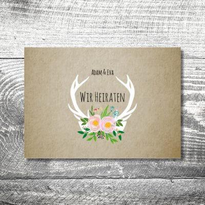 kartlerei hochzeit einladungskarten karten gestalten karten drucken hochzeitskarte 136 400x400 - Hochzeit Flowerhirsch | 4-Seitig | ab 1,00 €