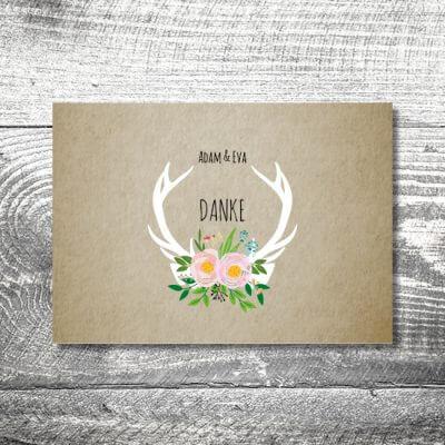 kartlerei hochzeit einladungskarten karten gestalten karten drucken hochzeitskarte 140 400x400 - Danke Flowerhirsch | 4-Seitig | ab 1,00 €