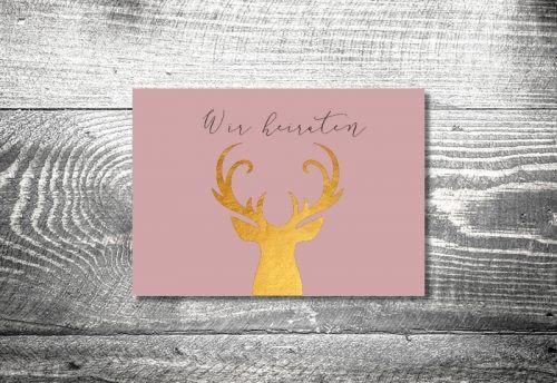 kartlerei hochzeit einladungskarten karten gestalten karten drucken hochzeitskarte 16 500x344 - Hochzeit Goldener Hirsch | 2-Seitig  | ab 0,70 €