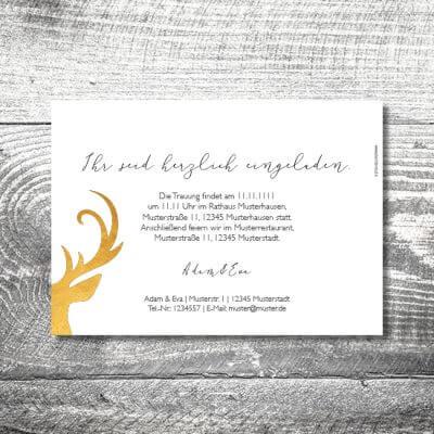 kartlerei hochzeit einladungskarten karten gestalten karten drucken hochzeitskarte 17 400x400 - Hochzeit Goldener Hirsch | 2-Seitig  | ab 0,70 €