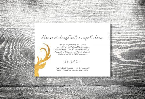 kartlerei hochzeit einladungskarten karten gestalten karten drucken hochzeitskarte 17 500x344 - Hochzeit Goldener Hirsch | 2-Seitig  | ab 0,70 €