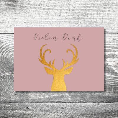 kartlerei hochzeit einladungskarten karten gestalten karten drucken hochzeitskarte 20 400x400 - Danke Goldener Hirsch | 4-Seitig | ab 1,00 €