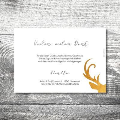 kartlerei hochzeit einladungskarten karten gestalten karten drucken hochzeitskarte 21 400x400 - Danke Goldener Hirsch | 2-Seitig | ab 0,70 €