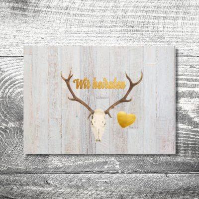 kartlerei hochzeit einladungskarten karten gestalten karten drucken hochzeitskarte 26 400x400 - Hochzeit Geweih | 4-Seitig | ab 1,00 €
