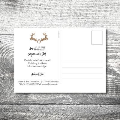 Save the Date Hirschn Postkarte | 2-Seitig | ab 0,70 €