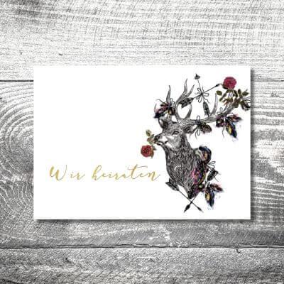 kartlerei hochzeit einladungskarten karten gestalten karten drucken hochzeitskarte 59 400x400 - Hochzeit Hirschblümchen | 4-Seitig | ab 1,00 €