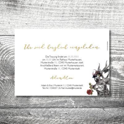kartlerei hochzeit einladungskarten karten gestalten karten drucken hochzeitskarte 60 400x400 - Hochzeit Hirschblümchen | 2-Seitig  | ab 0,70 €