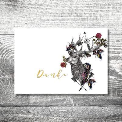 kartlerei hochzeit einladungskarten karten gestalten karten drucken hochzeitskarte 63 400x400 - Danke Hirschblümchen | 4-Seitig | ab 1,00 €