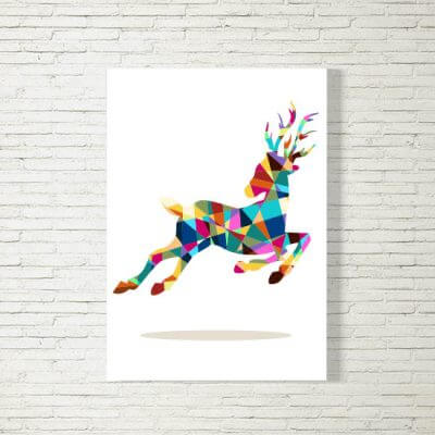 kartlerei poster bild drucken bayrisch spruch hirsch polygon 400x400 - Poster und Bilder