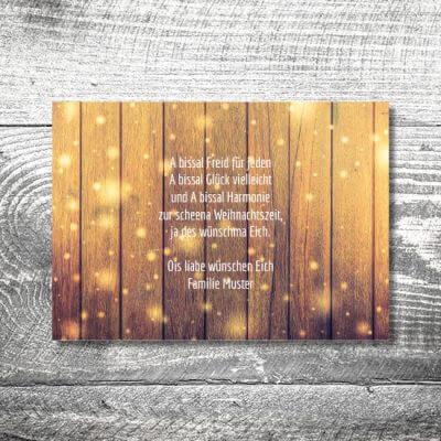 kartlerei karten drucken gestalten bayrische weihnachtskarten glitzerholz 2 400x400 - Glitterholz | 2-Seitig | ab 0,70 €