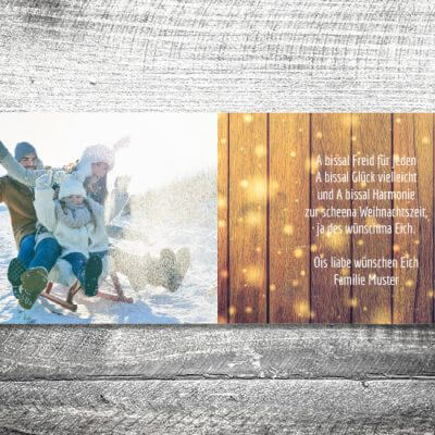 kartlerei karten drucken gestalten bayrische weihnachtskarten glitzerholz 3 400x400 - Glitterholz | 4-Seitig | ab 1,00 €