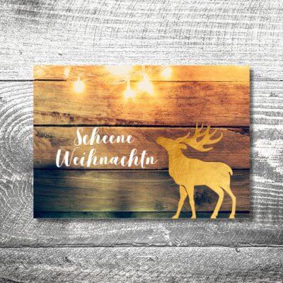 kartlerei karten drucken gestalten bayrische weihnachtskarten goldener hirsch 400x400 - Goldener Weihnachtshirsch | 2-Seitig | ab 0,70 €