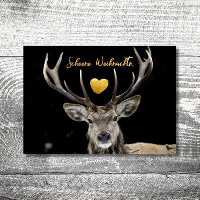 kartlerei karten drucken gestalten bayrische weihnachtskarten winterhirsch 400x400 - Winterhirsch | 2-Seitig | ab 0,70 €