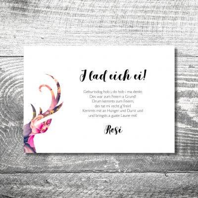 kartlerei karten drucken heimatgefuehl bayern einladungskarten bayrisch floralhirsch 2 400x400 - Floralhirsch | 2-Seitig | ab 0,70 €