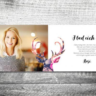 kartlerei karten drucken heimatgefuehl bayern einladungskarten bayrisch floralhirsch 3 400x400 - Floralhirsch | 4-Seitig | ab 1,00 €