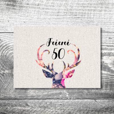 kartlerei karten drucken heimatgefuehl bayern einladungskarten bayrisch floralhirsch 400x400 - Floralhirsch | 2-Seitig | ab 0,70 €