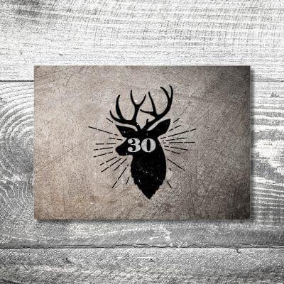 kartlerei karten drucken heimatgefuehl bayern einladungskarten bayrisch hirsch retro 400x400 - Hirsch Retro | 2-Seitig | ab 0,70 €