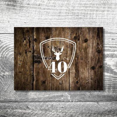 kartlerei karten drucken heimatgefuehl bayern einladungskarten bayrisch hirschwappen holz 400x400 - Hirschwappen Holz | 2-Seitig | ab 0,70 €
