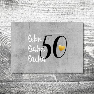 kartlerei karten drucken heimatgefuehl bayern einladungskarten bayrisch leben lieben lachen 400x400 - Lebn, liabn, lacha | 2-Seitig | ab 0,70 €