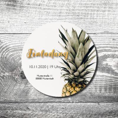 kartlerei bierdeckel drucken einladung geburtstag ananas 2 400x400 - Bierdeckel Ananas feiert
