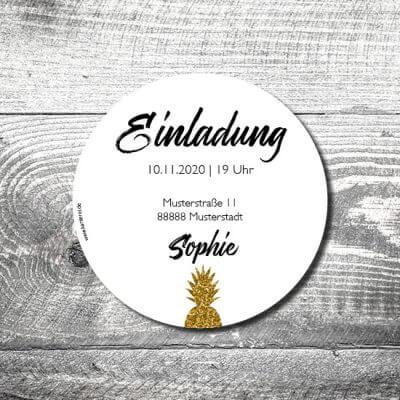 kartlerei bierdeckel drucken einladung geburtstag24 400x400 - Bierdeckel Goldene Ananas