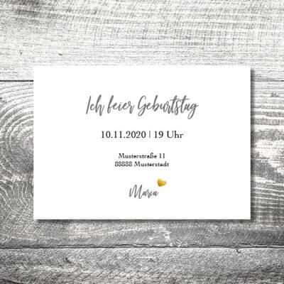 kartlerei karten drucken einladungskarte geburtstag geburtstagseinladung drucken gestalten30 400x400 - Silbergold | 2-Seitig | ab 0,70 €