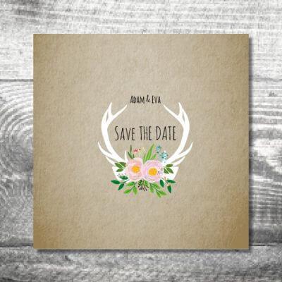 kartlerei karten drucken hochzeit einladung flowerhirsch 400x400 - Hochzeit Flowerhirsch | 6-Seitig | ab 1,90 €