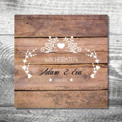kartlerei karten drucken hochzeit einladung heiraten 21 400x400 - Hochzeit Vintageholz | 6-Seitig | ab 1,90 €