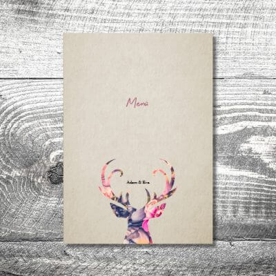 kartlerei karten drucken hochzeit heiraten menue menuekarte floralhirsch 400x400 - Menükarte Floralhirsch